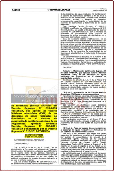 Normas legales, Decreto supremo, Resolusion Ministerial Directorial que regulan las labores saniseg
